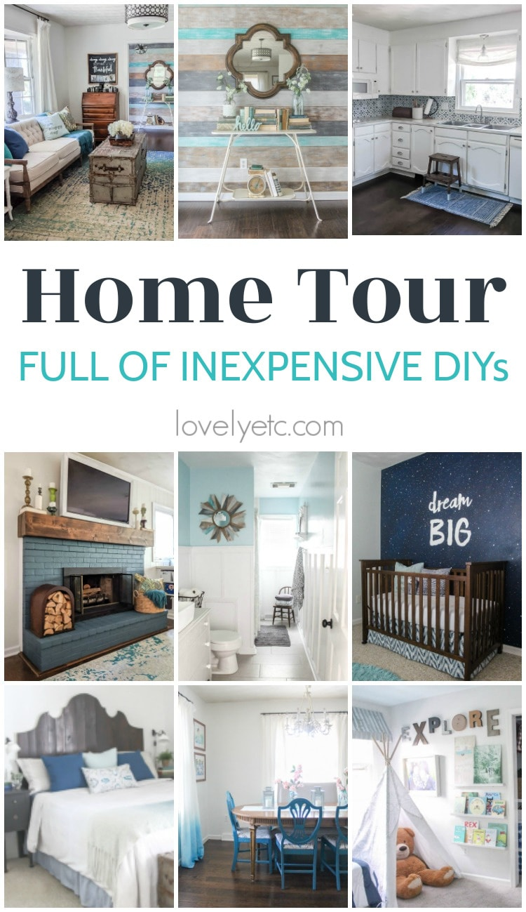 Home Tour full of inexpensive DIY projects from lovely etc.