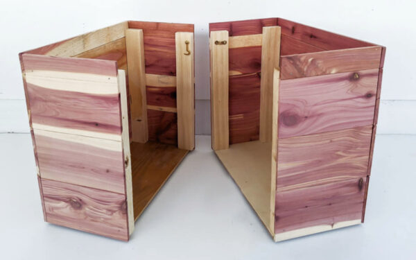 wood storage cubes split in half to fit in small spaces