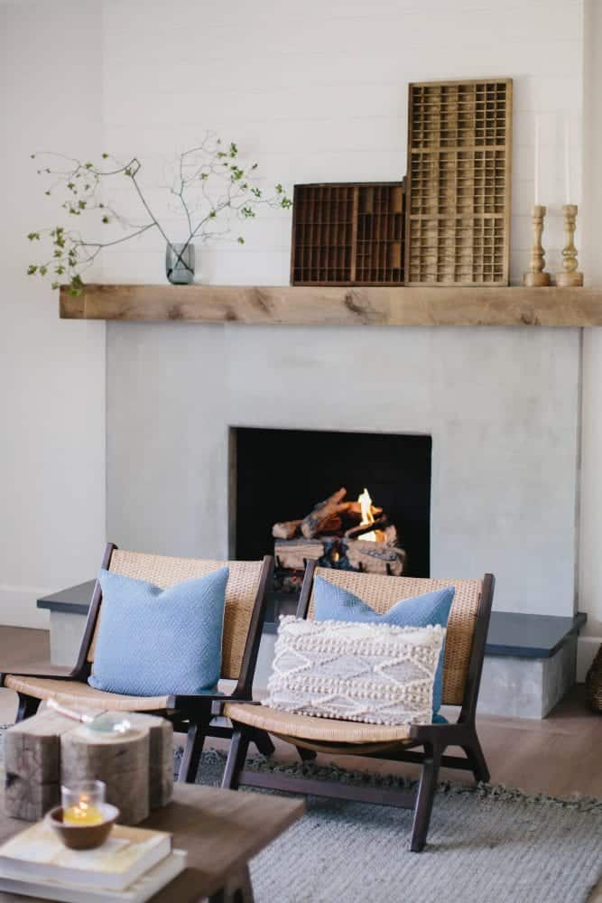 Brick Fireplace Makeover using Cement & Wood Mantle - Boxwood Ave