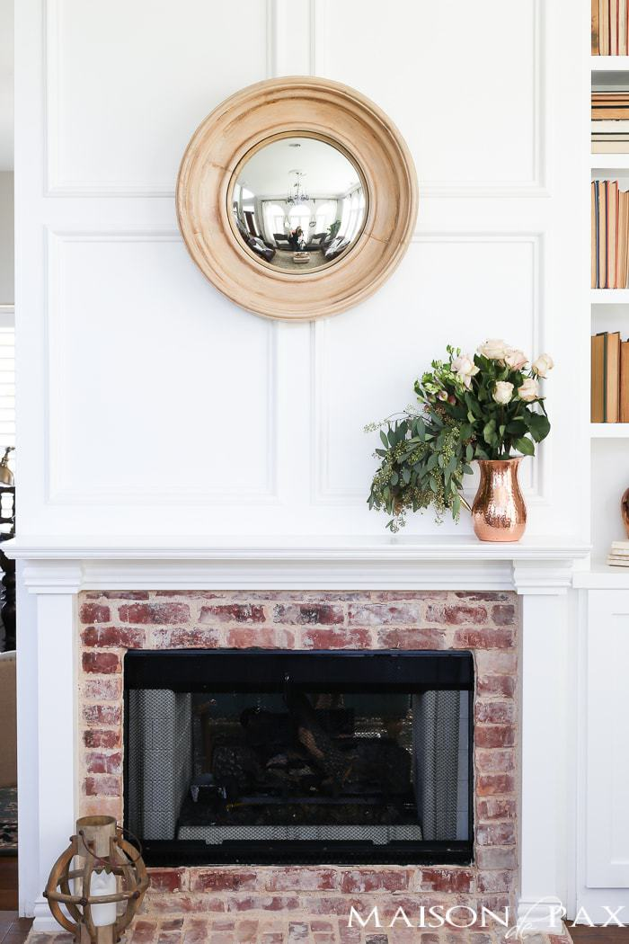 Antique Brick and White Molding Fireplace Makeover