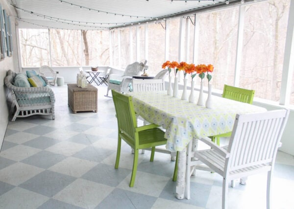screened porch with checkerboard floor