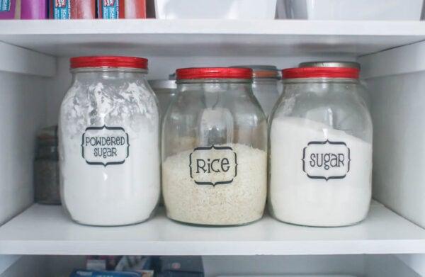 vintage jars in pantry with labels