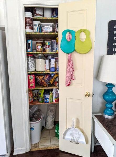 messy pantry closet before organization