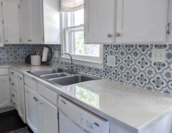 kitchen with stenciled backsplash