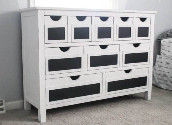 farmhouse dresser panted white with chalkboard labels