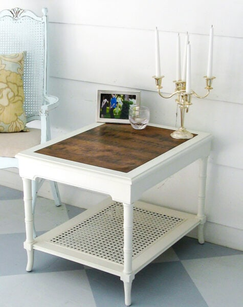 bamboo end table painted white with a plywood insert.