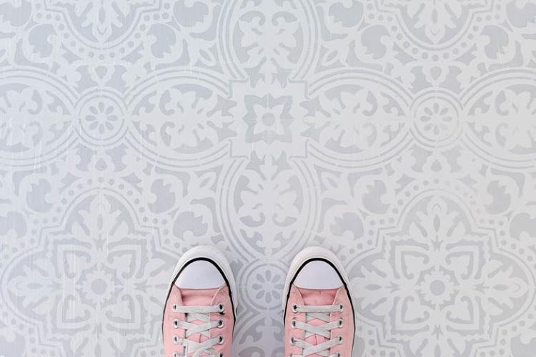 stenciled porch floor