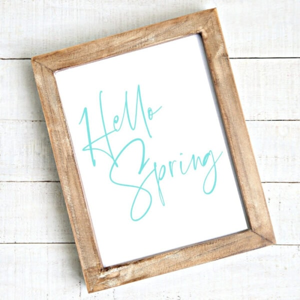 blue hello spring free printable