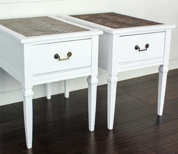 pair of wood end tables painted white
