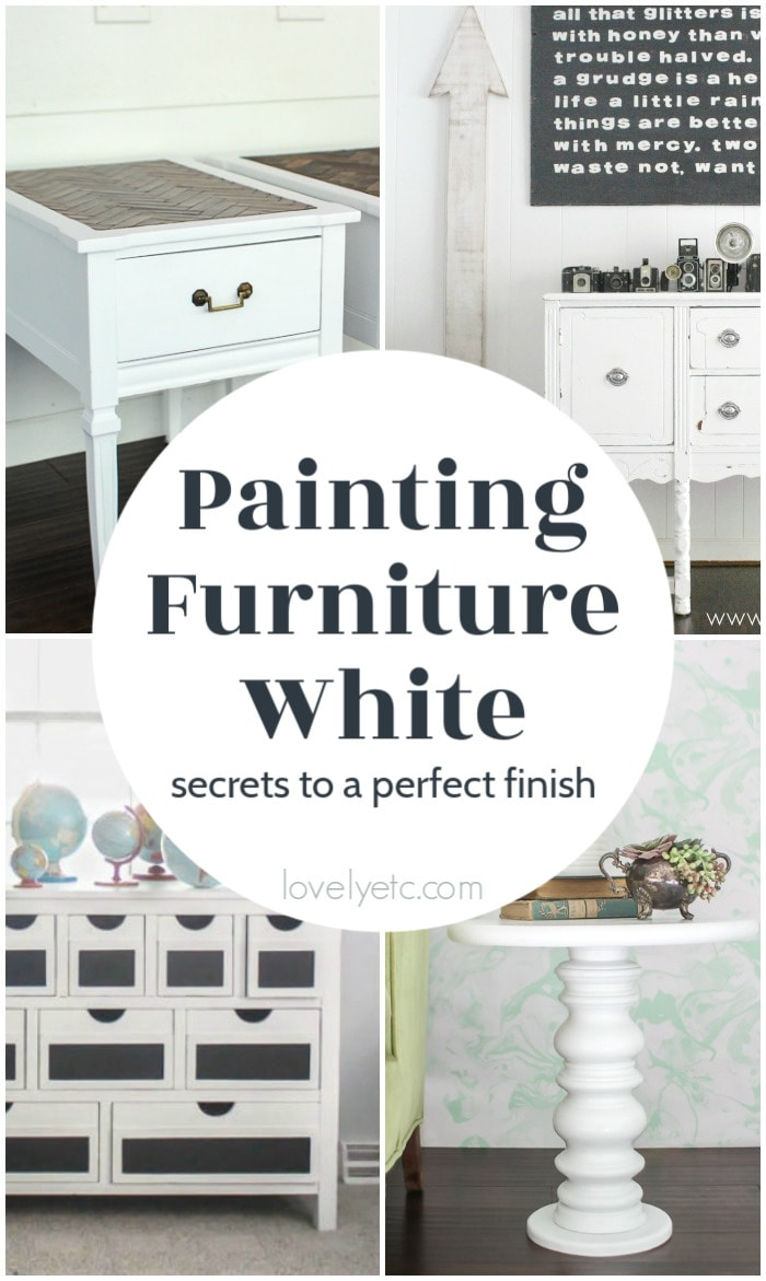 collage of furniture painted white.