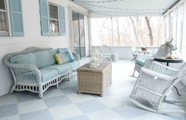 porch with painted checkerboard floor