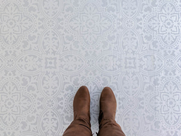 stenciled wood floor