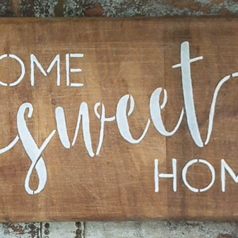 home sweet home stenciled wood sign