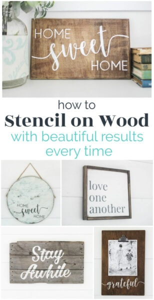 how to stencil on wood with beautiful results every time - five stenciled wood signs