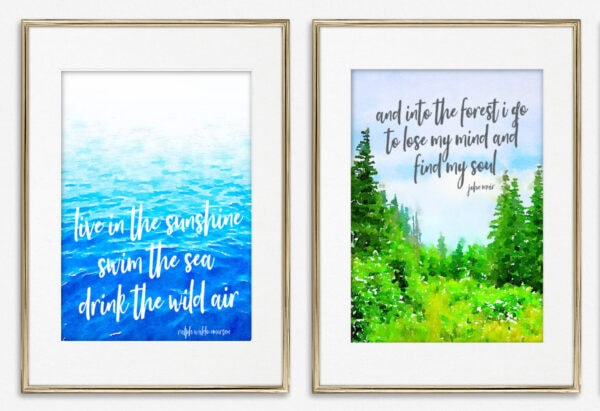 pair of framed printable summer art