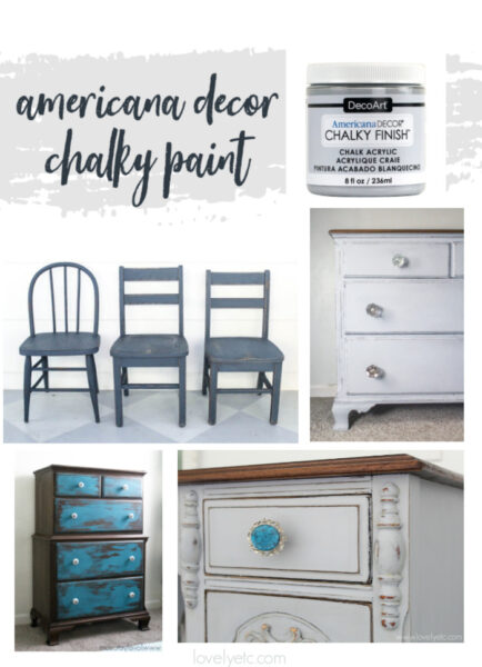 jar of Americana Decor chalky finish paint plus four pieces of furniture painted with chalky finish paint