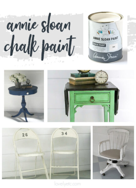 can of annie sloan chalk paint and four pieces of furniture painted with ascp