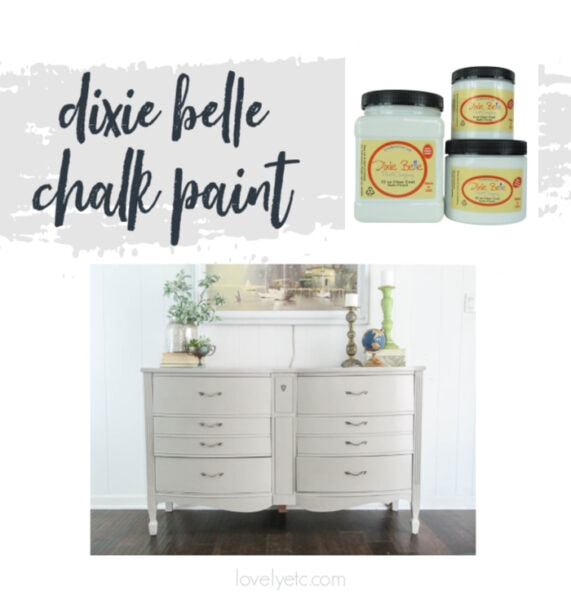 cans of dixie belle chalk paint and a dresser painted with dixie belle