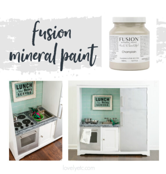jar of fusion mineral paint plus a furniture piece painted with fusion