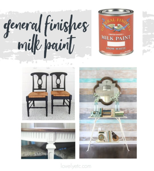 can of general finishes milk paint plus several furniture pieces painted with it