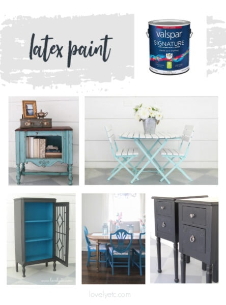 can of latex paint along with five pieces of furniture painted with latex paint