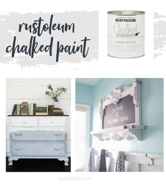 can of rustoleum chalked paint plus a dresser and frame painted with chalked paint