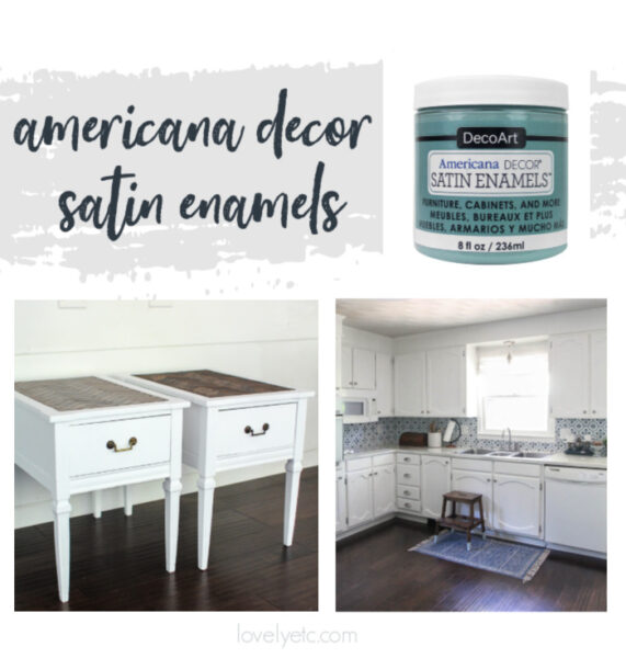 jar of americana decor satin enamels paint along with kitchen cabinets and a set of tables painted with satin enamels pure white paint