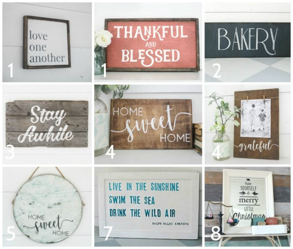 9 diy signs of all different styles including framed wood signs, wood plank signs, cabinet door signs, mirror sings, and round signs