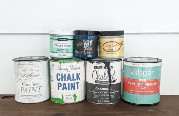 7 different types of chalk paint - amy howard at home, annie sloan, rustoleum chalked, valspar chalky finish, americana decor chalky finish, diy paint, and dixie belle
