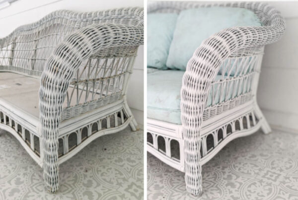 white wicker sofa before and after painting