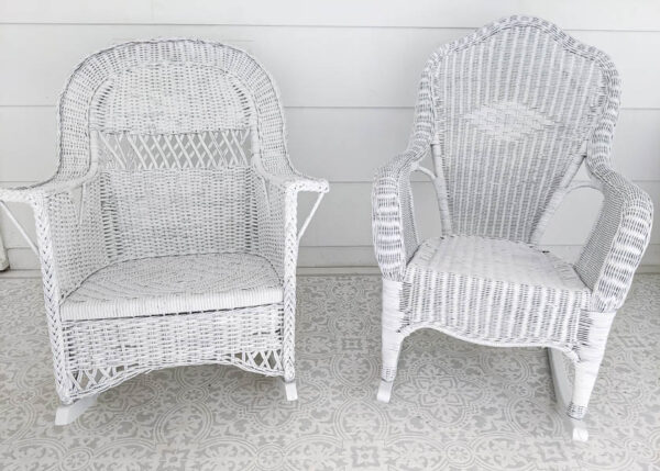 2 white wicker rocking chairs after being painted with spray paint