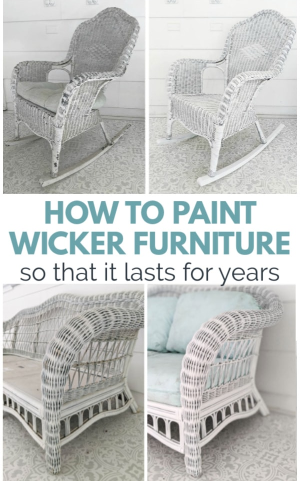 before and after photo of painted wicker furniture