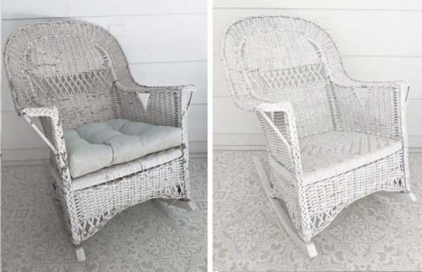 wicker rocking chair before and after painting