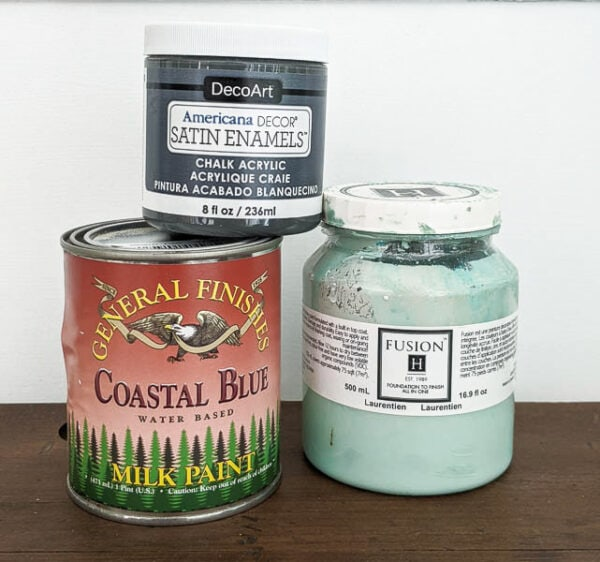 three self-sealing furniture paints: general finishes milk paint, fusion mineral paint, and americana decor satin enamels