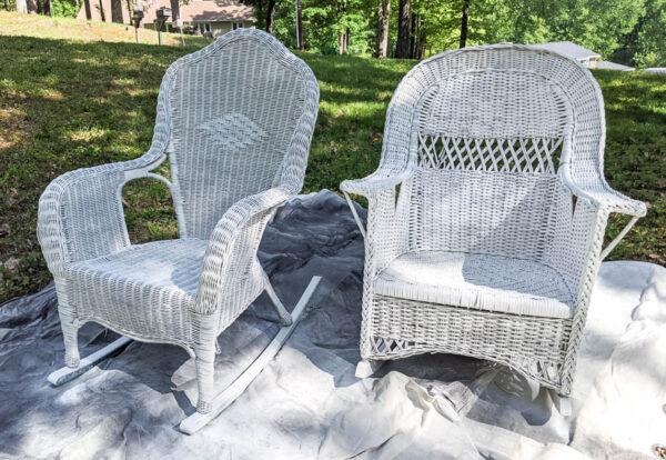 2 wicker rocking chairs after the second coat of white paint