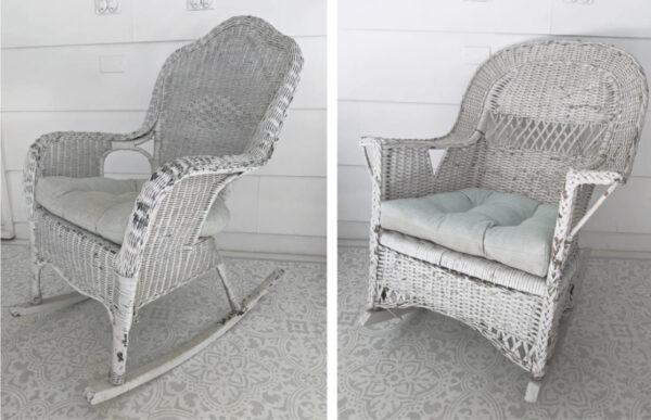 two white wicker rocking chairs with scuffed, peeling paint