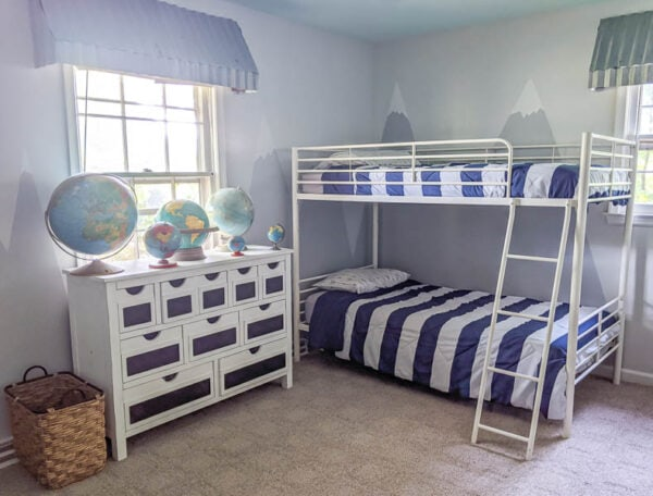 shared boys room with white bunk beds