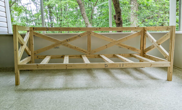 frame of diy daybed before arm rests are added.