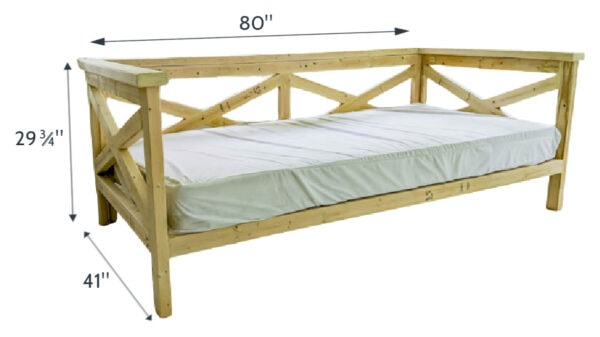 dimensions of diy wooden daybed