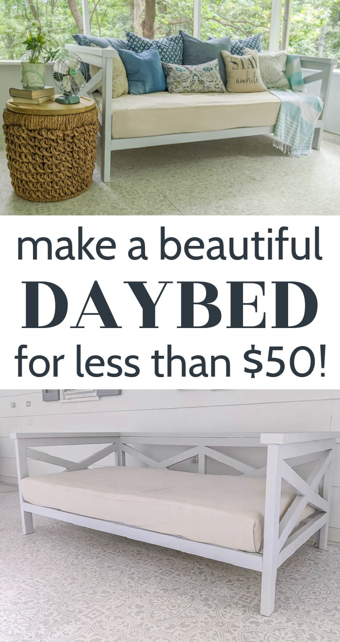 diy daybed styled with pillows and table and plain daybed