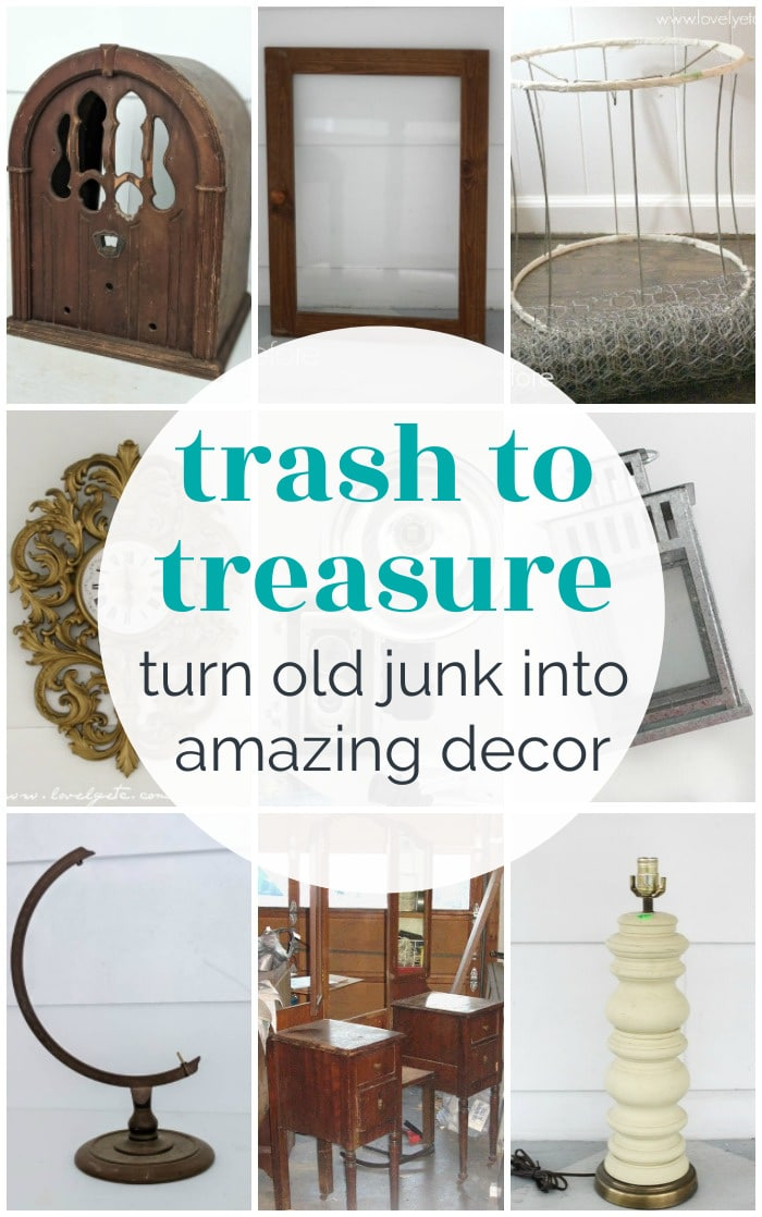 trash to treasure collage of upcycled project befores