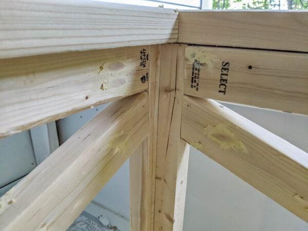 pocket holes filled with wood filler
