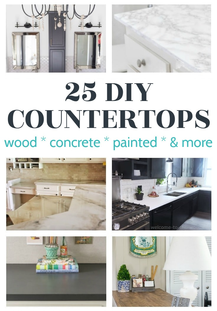 collage of six different diy countertops in kitchens