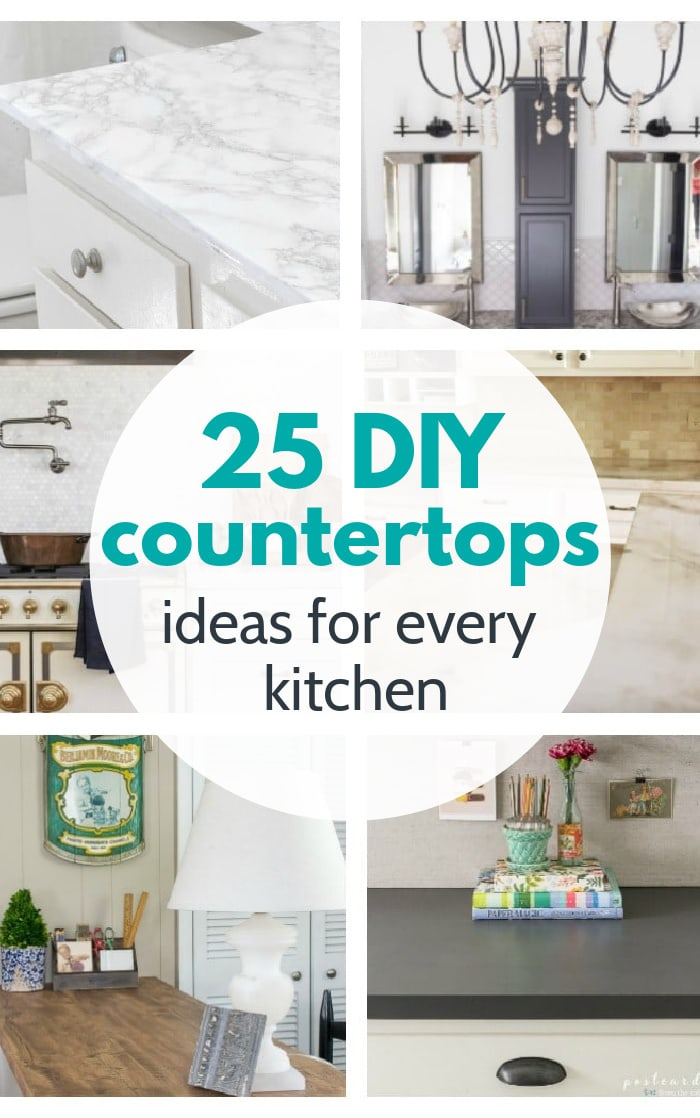 collage of diy kitchen countertop ideas