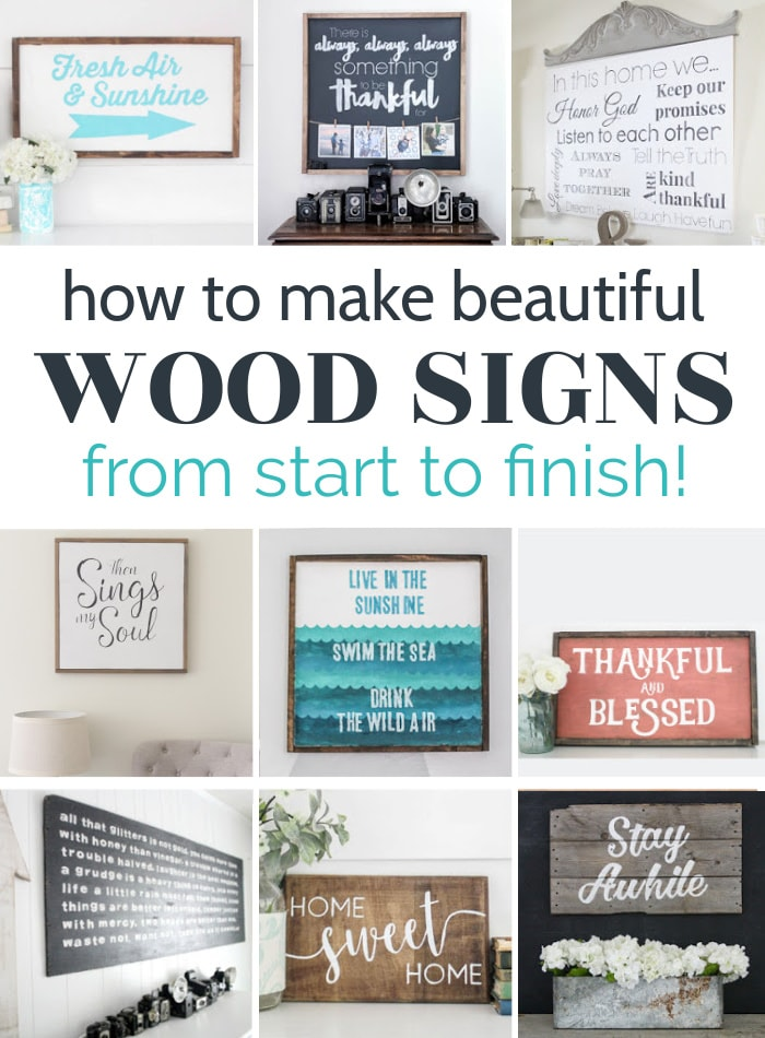 collage of 9 diy wood signs including framed signs, black and white signs, colorful signs, and plank wood signs