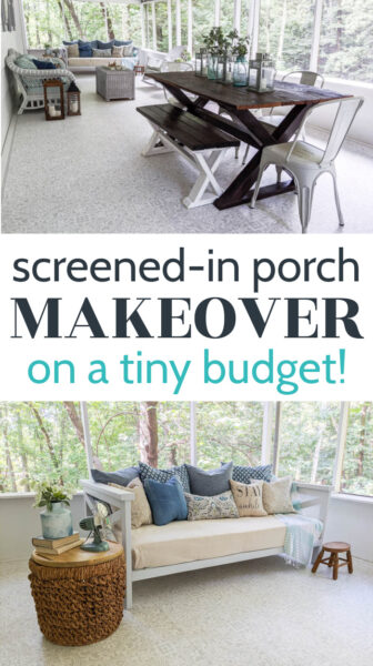 screened in porch makeover on a tiny budget wide view of room