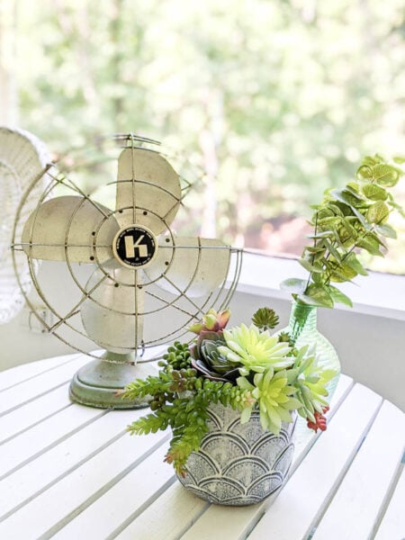 vintage cast iron fan and bowl of succulents