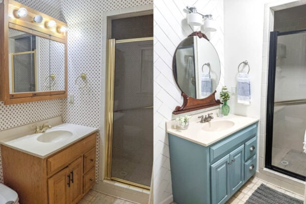 before of builder basic oak vanity and oversized medicine cabinet beside after of painted vanity and vintage mirror