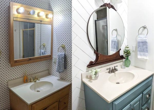 Before of huge medicine cabinet and light over bathroom vanity next to after of vintage round mirror over bathroom vanity.