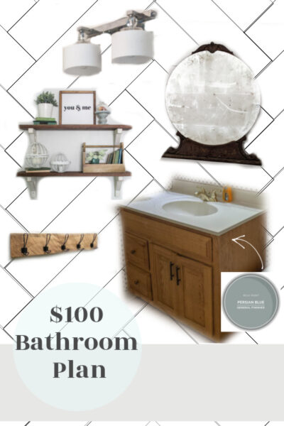 Bathroom mood board with white herringbone walls, wood shelves, a vintage mirror, and a painted vanity.